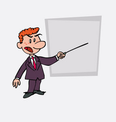 Red hair businessman points out angry with a vector