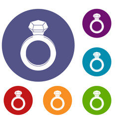 Ring with gemstone icons set vector