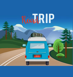 road trip moving car on road summer landscape vector image