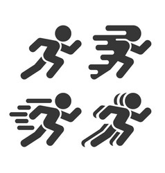 running and walking icons set on white background vector image