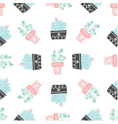 seamless pattern with cactuses and succulents vector image