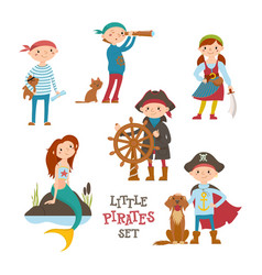 Set of cute little pirate sailor kids and mermaid vector