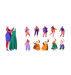 set people in fashioned clothes male female vector image