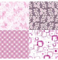 Set seamless pink grunge patterns vector image