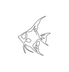 Single one line drawing funny freshwater vector