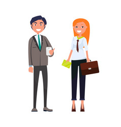 smiling man with smartphone woman briefcase vector image