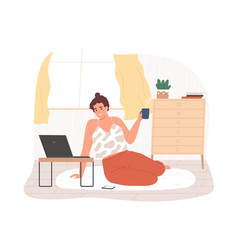 Smiling woman sitting on floor use laptop at vector