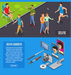 Social photo selfie isometric banners vector