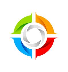 social shutter wheel symbol logo design vector image
