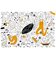 space doodle set vector image