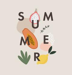 Summer greeting card invitation text with papaya vector