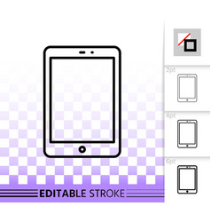 tablet simple black line icon vector image
