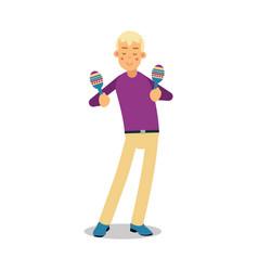 teenage boy playing on maracas concert cartoon vector image