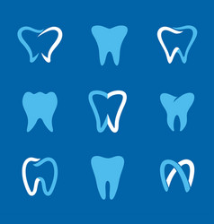 teeth logo blue vector image