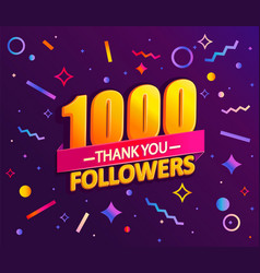 Thank you 1000 followers thanks banner vector