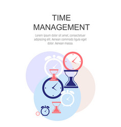 Time management concept flat background vector
