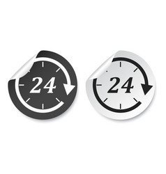 Time sticker icon flat 24 hours on isolated vector