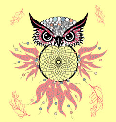 traditional tattoo owl hold dream catcher symbol vector image