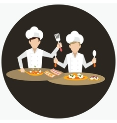 two chef working together prepare for the dish vector image vector image