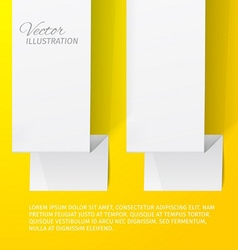 Two white sheets of paper on a yellow background vector