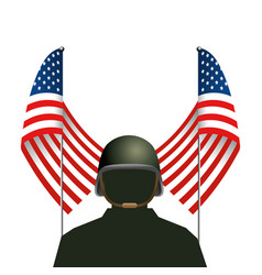 united state flag with soldier and helmet vector image