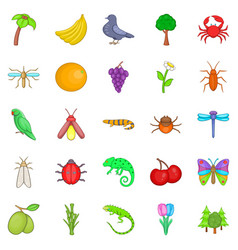 Vegetable kingdom icons set cartoon style vector