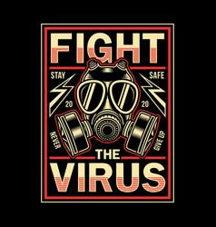 Vintage corona virus graphic t-shirt vector