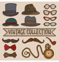 Vintage hats and glasses set vector image