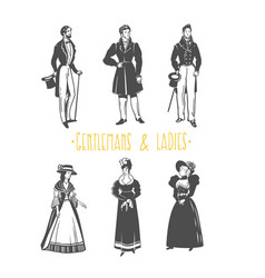 Vintage lady and gentleman style vector