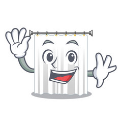 Waving shower curtains in the character bathrooms vector
