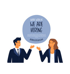 we are hiring template business man and woman vector image