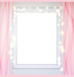 Window frame glow garland pink tulle curtains vector