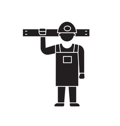 worker with tools black concept icon vector image