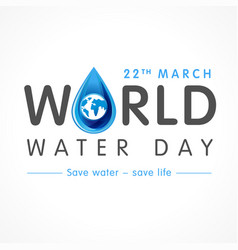 world water day lettering banner vector image