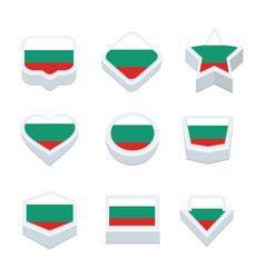 bulgaria flags icons and button set nine styles vector image vector image