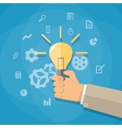 cartoon businessman hand holding light bulb vector image