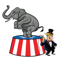 donald trump and republican elephant cartoon vector image vector image
