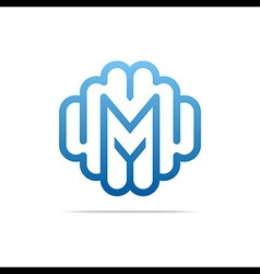 combination of alphabet m art collection vector image