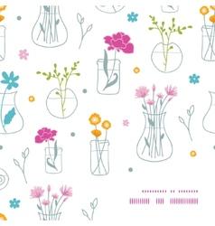 Fresh flowers in vases frame corner pattern vector image vector image