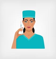nurse with syringe vector image vector image