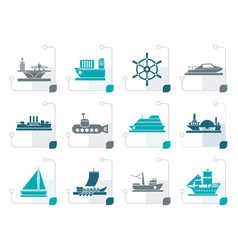 stylized different types of boat and ship icons vector image