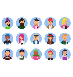 web funny avatars set of different hipsters male vector image vector image