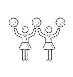 cheerleader women with pom-pom line icon vector image