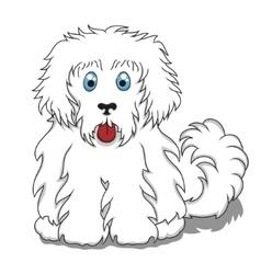 Cute fluffy cartoon dog vector