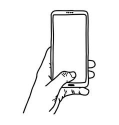 Left hand using vertical blank screen mobile phone vector