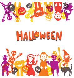 Halloween monster characters frame vector