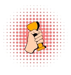 Hand holding trophy cup icon comics style vector image vector image