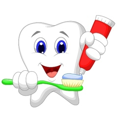 Tooth cartoon putting tooth paste on her toothbrus vector image