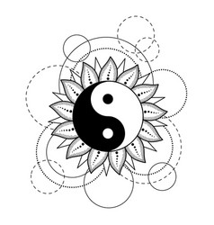 abstract pattern with yin and yang sun moon star vector image