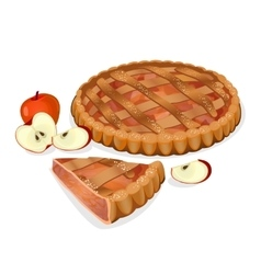 Apple pie with fruits cut slice isolated vector